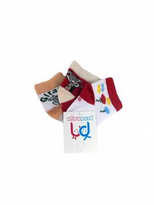 Носки детские, 3 пары PERA MAYA. Цвет: белый, красный, кремовый