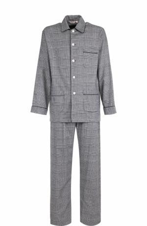 Хлопковая пижама в клетку Derek Rose. Цвет: черный