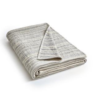 Плед из хлопковой жаккардовой ткани, Lotza AM.PM.. Цвет: индиго