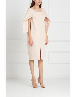 Платье из шелка и хлопка Gilmar. Цвет: бежевый