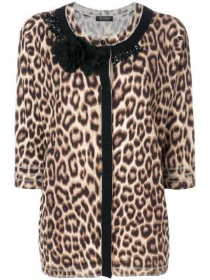 Кардиган с круглым вырезом и леопардовым принтом Twin-Set. Цвет: коричневый