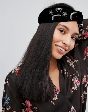 Orelia Широкая повязка на голову с отделкой. Цвет: черный