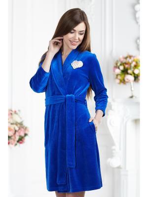 Халат банный AnGela. Цвет: синий