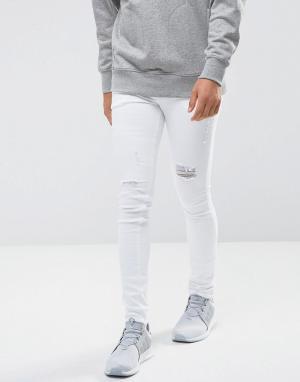 ASOS Белые состаренные джинсы скинни. Цвет: белый