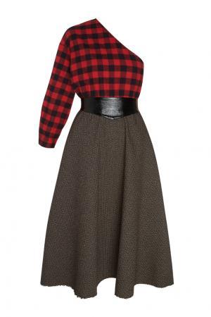 Платье из шерсти и хлопка Grandpa's Plaid A.W.A.K.E.. Цвет: красный, серый
