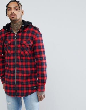 Sixth June Красная oversize-рубашка в клетку на молнии с капюшоном. Цвет: красный