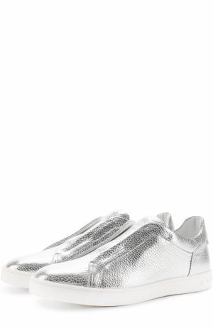 Слипоны из металлизированной кожи Tod's. Цвет: серебряный