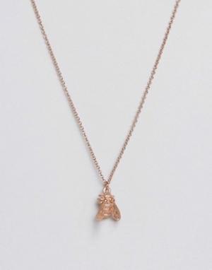 Bill Skinner Покрытое розовым золотом ожерелье с пчелой. Цвет: золотой