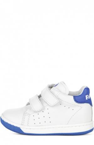 Кожаные кроссовки с двойной застежкой велькро Falcotto. Цвет: белый
