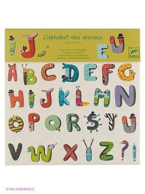 Наклейки Алфавит Зверюшки DJECO. Цвет: голубой