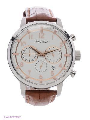Часы Nautica. Цвет: серебристый, коричневый