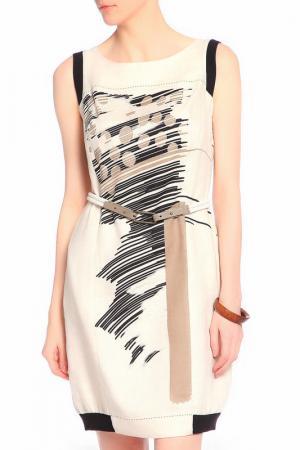 Платье с зауженной к низу юбкой и поясом Caterina Leman. Цвет: бежевый-коричневый 03-04