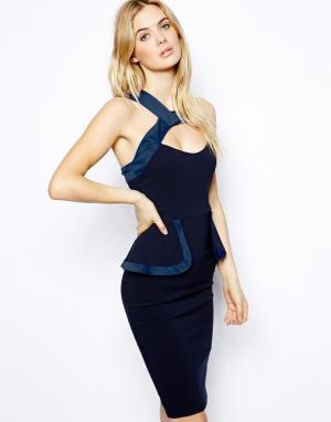 Платье с баской и отделкой на горловине  Alexia Tempest. Цвет: темно-синий
