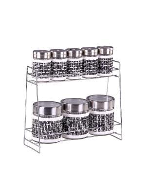 Набор банок для сыпучих продуктов и специй на металлической подставке 8 предметов, шт PATRICIA. Цвет: черный