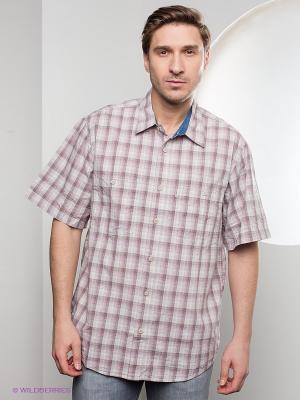 Рубашка Westrenger. Цвет: бежевый, сиреневый