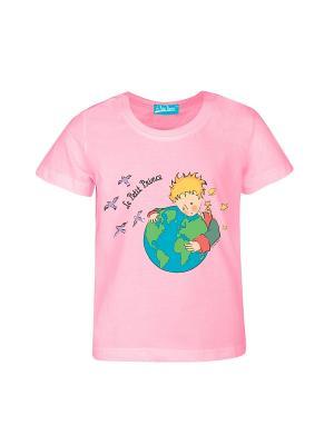 Футболка Маленький Принц с Земным Шаром. Цвет: розовый