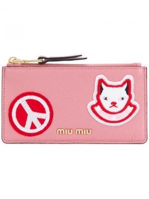 Визитница на молнии с логотипом Miu. Цвет: розовый и фиолетовый