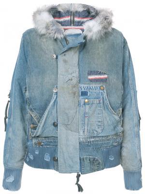 Джинсовая куртка с меховой оторочкой Greg Lauren. Цвет: синий