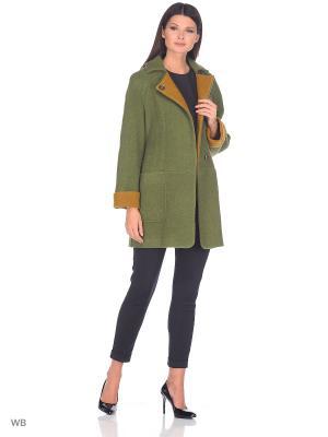 Пальто Socrat. Цвет: зеленый, светло-коричневый