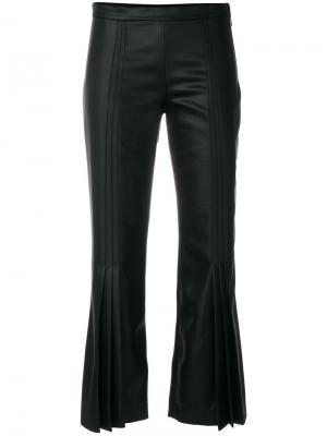 Cropped faux leather pleated trousers Marco De Vincenzo. Цвет: чёрный