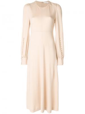 Платье-миди с длинными рукавами Chloé. Цвет: телесный