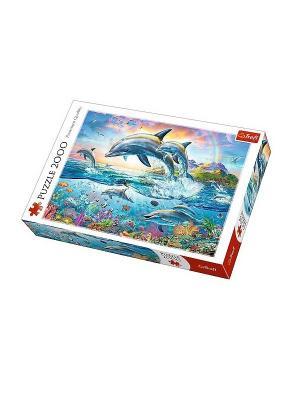 Пазл 2000 дет.- Счастливые дельфины Trefl. Цвет: белый