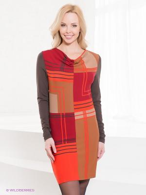 Платье VILA JOY. Цвет: оранжевый, хаки, коричневый, красный