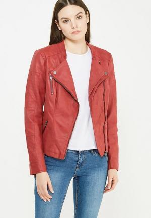 Куртка кожаная Only. Цвет: красный