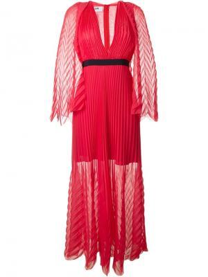 Длинное плиссированное платье MSGM. Цвет: красный