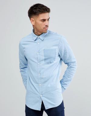 New Look Выбеленная джинсовая рубашка с отделкой в виде кармана. Цвет: синий