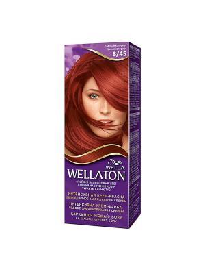 Крем-краска для волос стойкая 8/45 Красный колорадо WELLATON. Цвет: фиолетовый