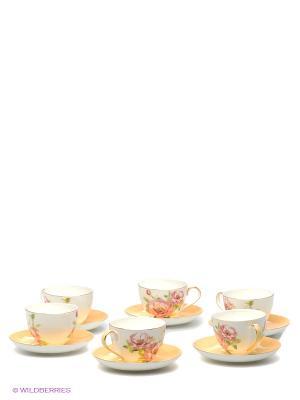 Чайный набор на 6 перс. Пионы (Torino Peony Pavone) Pavone. Цвет: белый, розовый, золотистый