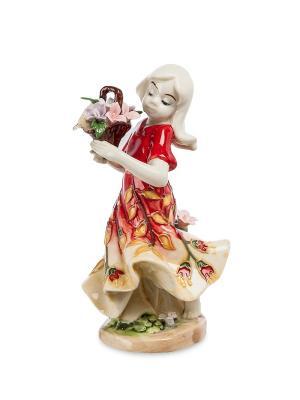 Статуэтка Девушка С Цветами Pavone. Цвет: бежевый, розовый