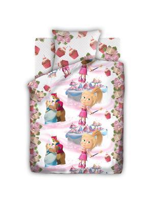 Комплект постельного белья 1,5 бязь Праздник Маша и медведь. Цвет: розовый, белый