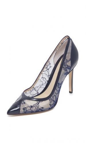 Кружевные туфли-лодочки Fatima Monique Lhuillier. Цвет: полночный