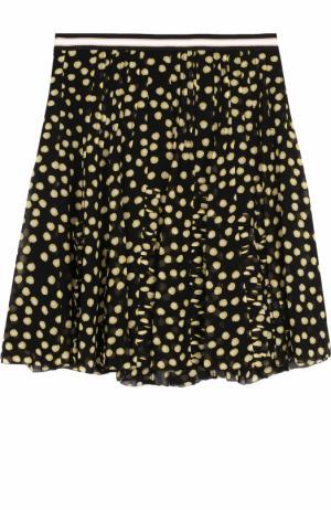 Шелковая мини-юбка в складку с принтом Dorothee Schumacher. Цвет: черный