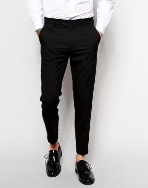 ASOS Черные укороченные зауженные брюки в строгом стиле. Цвет: черный