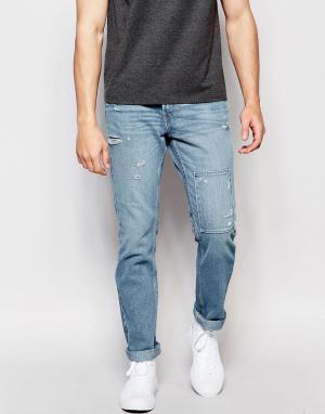 Hollister Зауженные джинсы с заплатками. Цвет: синий