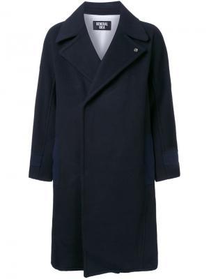 Однобортное пальто General Idea. Цвет: синий