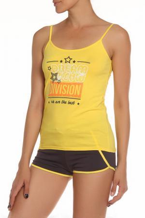 Комплект: топ, шорты ALFA. Цвет: желтый