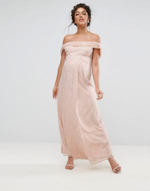 Queen Bee Кружевное платье макси с драпировкой. Цвет: розовый