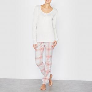 Пижама в клетку, 100% хлопка La Redoute Collections. Цвет: рисунок/экрю меланж