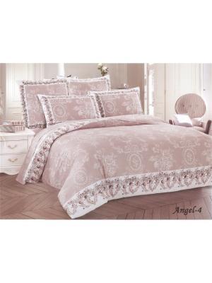 Комплект постельного белья семейный 50х70, сатин Jardin. Цвет: светло-коричневый