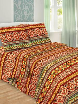 Комплект постельного белья, 1,5-сп, бязь, пододеяльник на молнии Letto. Цвет: красный,желтый,коричневый