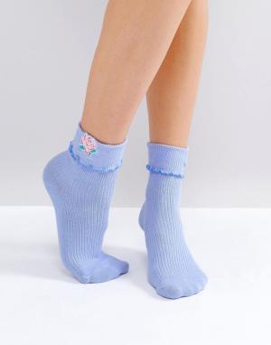 Lazy Oaf Носки с отделкой. Цвет: синий
