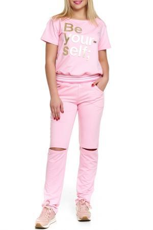 Костюм: джемпер, брюки Majaly. Цвет: розовый