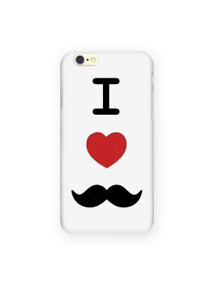 Чехол для IPhone 6 I love усики Mitya Veselkov. Цвет: белый, черный, красный