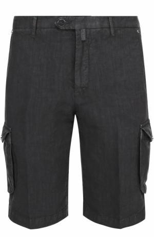 Льняные шорты с накладными карманами Kiton. Цвет: темно-серый