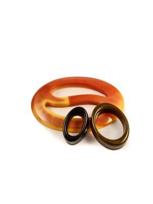 Пряжка Волшебная пуговица Овал инь-ян и кольцо для шарфа madam Пряжкина. Цвет: черный, горчичный, хаки