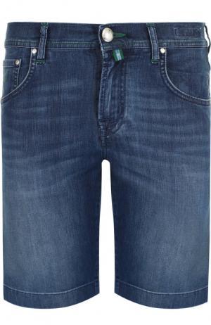 Джинсовые шорты с потертостями Jacob Cohen. Цвет: синий